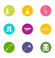 professional fishing icons set flat style vector image vector image