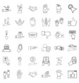 protection icons set outline style vector image vector image