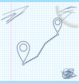 route location line sketch icon isolated on white vector image