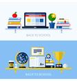 School concepts with bookshelf and school supplies vector image