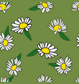 seamless background with daisies painted by hand vector image