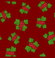 seamless pattern redcurrant on red background vector image vector image
