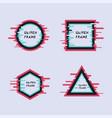set geometric frame in modern glitch style vector image
