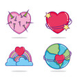 set of hearts cartoons vector image