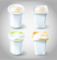 set of of plastic yogurt cups vector image vector image