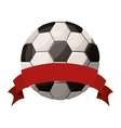 silhouette color with soccer ball and ribbon vector image vector image