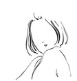 sketch of beautiful woman face hand drawn vector image vector image