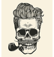 Skull Hipster skull silhouette with mustache vector image vector image