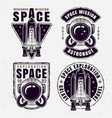 space exploration set four emblems vector image vector image