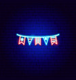 usa flags neon sign vector image vector image