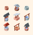 water well outdoor decoration well from bricks vector image vector image