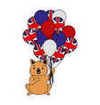 wombat with hat and balloons australian flag vector image