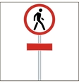 pedestrian red traffic sign on white - vector image
