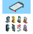 arcade trainers game machine isometric set board vector image vector image