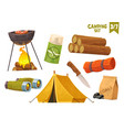 barbecue binoculars tent knife camp mat mosquito vector image vector image