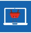 basket red commerce laptop icon vector image