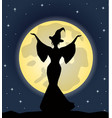 beautiful witch standing on background moon vector image vector image