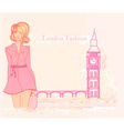 Beautiful woman and Big Ben in London card vector image vector image