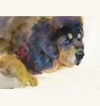 big sad dog lying on beige background vector image