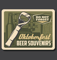 bottle opener mug and barrel beer oktoberfest vector image vector image