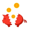 Broken Piggy Bank vector image vector image