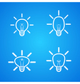 bulbs icons set on blue vector image