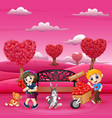 cartoons of boys and girls with their pets in pink vector image vector image