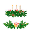 christmas decorations with three burning candles vector image