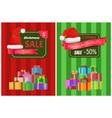 christmas sale posters santas hat discount label vector image vector image