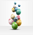 colorful easter eggs on white background vector image vector image