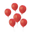 composition of realistic air flying red balloons vector image vector image