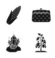 corn cosmetic bag and other web icon in black vector image vector image