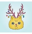 Cute cartoon Christmas cat with deer horns vector image vector image