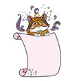 cute kawaii cat with blank sign template vector image