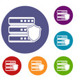 database with gray shield icons set vector image vector image