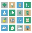 ecology flat icons set with shadows vector image