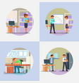 fired people icon set flat vector image vector image