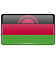 Flags Malawi in the form of a magnet on vector image