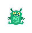 funny green cartoon monster sitting on the floor vector image vector image