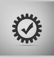 gear with check mark icon on grey background vector image vector image