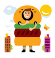 happy hipster man in hamburger flat style vector image vector image
