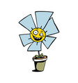 happy sunflower cartoon vector image