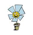 happy sunflower cartoon vector image