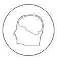 head with brain the black color icon in circle or vector image