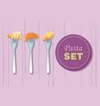 italian pasta on fork concept background cartoon vector image