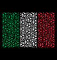 italy flag pattern of football ball icons vector image vector image