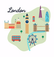 London Travel map and landscape of buildings and