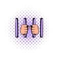 Man behind jail bars icon comics style vector image vector image