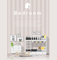modern kids bedroom with wooden bunk bed vector image vector image