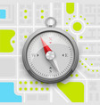 navigation compass on the city map vector image vector image